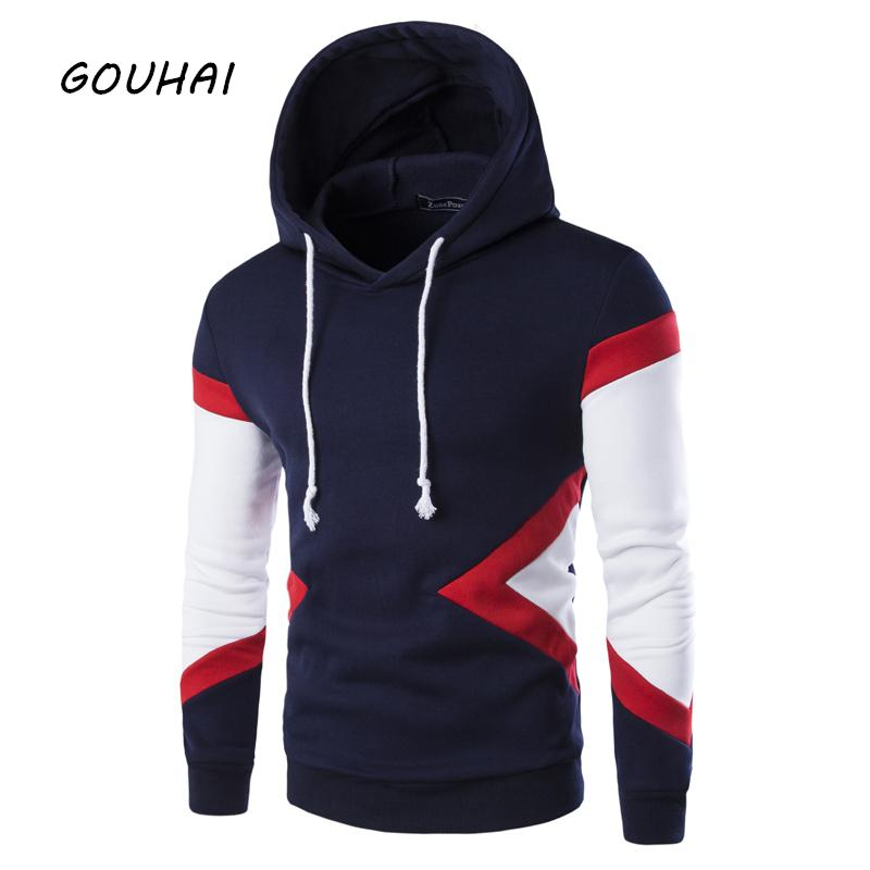 Tracksuit Men Slim Fit Male Sweatshirt Mens Hoodies Patchwork 2017 M-XXL Spring Autumn Fashion Hoodies Mens Sweatshirts-noashe