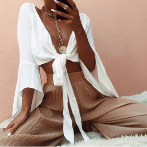Spring Streetwear Women White Sexy V Neck Blouse Full Flare Sleeve Chest Bow Tie Female Slim Short Shirt Chiffon Basic Crop Tops-noashe
