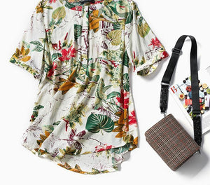 ZANZEA Women Floral Print Blouse Tops Casual Summer Roll Up Short Sleeve Vintage Oversized Shirt Loose O Neck Blusas Femininas-noashe