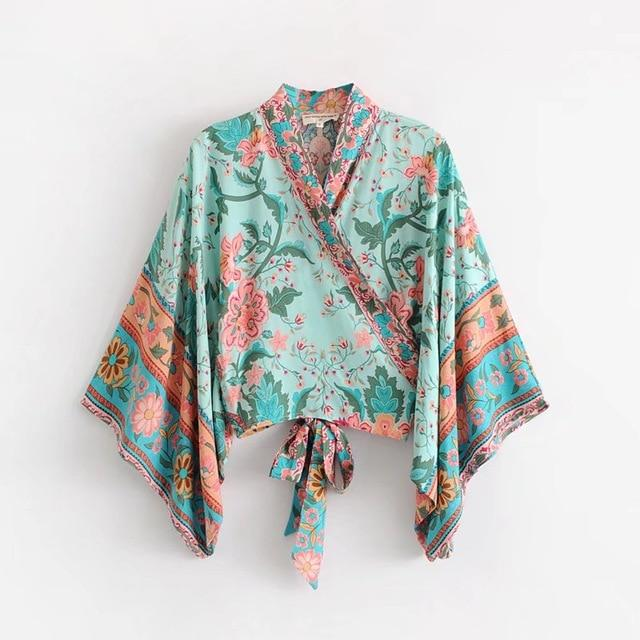 Boho Vintage Peacock Floral Print Short Kimono Women 2018 New Fashion Bow Tie Batwing Sleeve V Neck Blouse Casual Blusa Mujer-noashe