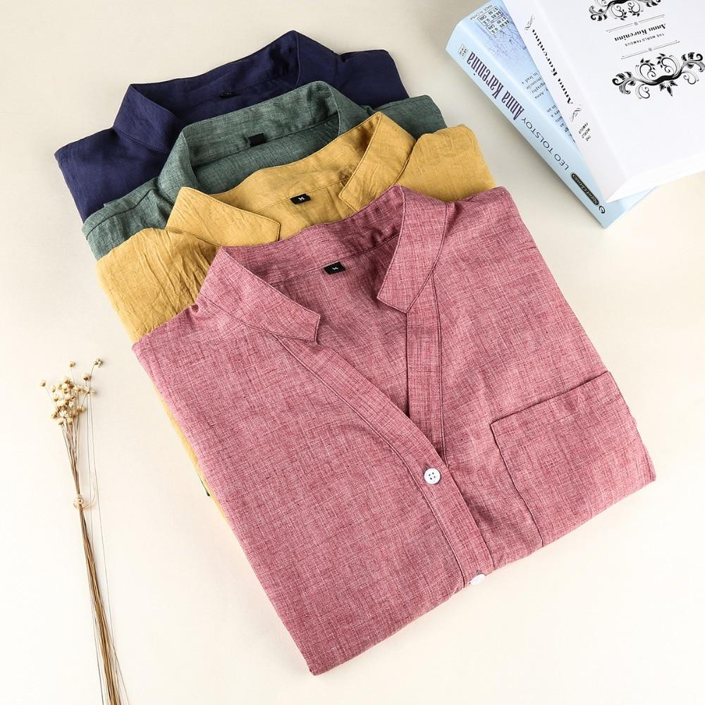 Dioufond Women Korean Style Shirts Fashion V-Neck Blouse Casual Cotton Shirt Ladies Pocket Tops Female Blusas Femininas-noashe
