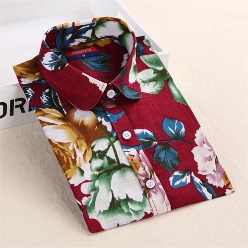 Dioufond Women Cherry Blouses Long Sleeve Shirt Turn Down Collar Floral Blouse Plus Size 5XL Women Vintage Cotton Shirt-noashe