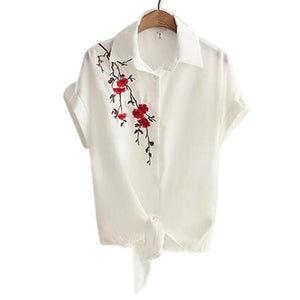 2018 Top Summer Women Casual Tops Short Sleeve Embroidery White Top Blouses Shirts Sexy Kimono Loose Beach Shirt Blusas Feminina-noashe