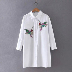 New arrival 2018 Women Bird Embroidered Blouse Shirts fashion Long sleeve high quality turn down collar Spring Fall female Shirt-noashe