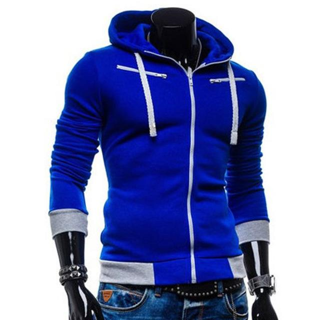 LeeLion 2018 New Zipper Cardigan Hoodies Men Hooded Fleece Sweatshirt Fashion Casual Solid Sportswear Slim Men's Hoody Tracksuit-noashe