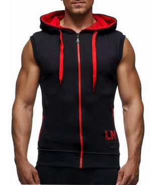 Male 2018 Bodybuilding Hoodies Fitness Clothes Hoody Cotton Hoodie Men Sweatshirts Men's Sleeveless Tank Tops Casual Vest-noashe