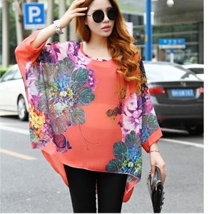 Blusas Women Blouses 2018 New Fashion Womens Casual Chiffon Blouse Summer Style 4XL 5XL 6XL Plus Size Women Chiffon Shirts Tops-noashe