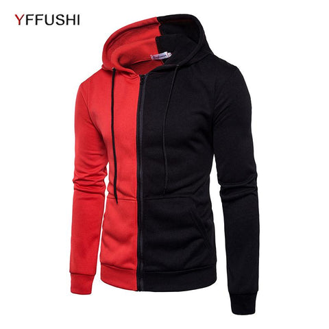 YFFUSHI Men Zipper Sweatshirts Color Block Patchwork Hoodies Sweatshirts Men 2018 Brand Fashion Streetwears Spring Men Clothing