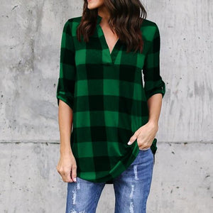 2018 New Women Blouses Tops Casual Loose Long-sleeved Plaid Shirts V-neck Cotton Shirt Long Camisa Feminina Plus Size S-5XL-noashe