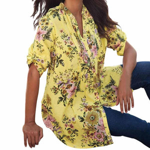 Plus Size 6XL Vintage Floral Print V-neck Tunic Tops Spring Summer Women's Blouses 3 colors Half Sleeve Clothes Ropa Mujer EY11-noashe