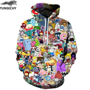 TUNSECHY Brand Hot harajuku fashion male/female 3D digital printing tree hooded US Tops Unisex Hoodies Sweatshirts S-XXXL-noashe
