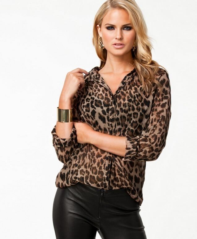 2016 High Street Blusas Femininas Women Blouse Ladies Sexy Long Sleeve Leopard Print Chiffon Blouses Blusas Tops Shirt for Women-noashe