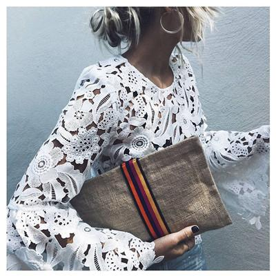 Hollow out bell sleeve lace blouses Women 2018 Spring fashion white crop tops Red black blusa feminino Sexy crochet summer tops-noashe