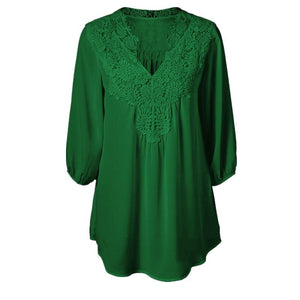5XL Plus Size Tops Women Chiffon Blouse Shirt Lace Up Blouses V neck Loose Blusas Work Ladies Clothes Tunic 2017 Spring-noashe