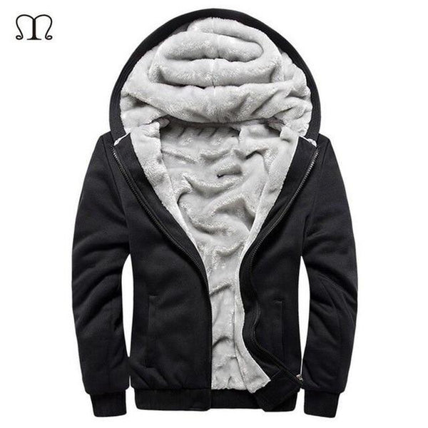 Hoodies Men Hooded Casual Wool Winter Thickened Warm Coat Male Velvet Male Sweatshirts Coat Zipper Cardigan Hoody Man Clothing-noashe