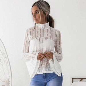 DeRuiLaDy 2018 Women Lace Blouse Shirt Elegant Flare Sleeve Long Sleeve Sexy Transparent Shits Casual Stand Chiffon White Tops-noashe