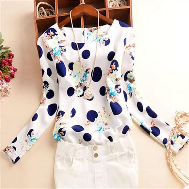 1PC Office O-neck Blouses Long Sleeve Print Women's Shirt Female Elegant Tops 2017 Plus Size Winter Autumn Casual Blouse BN2083-noashe
