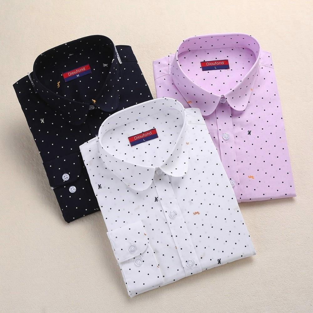 Dioufond Women Polka Dot Blouses Cotton Long Sleeve Shirt Turn Down Collar Shirt Ladies Tops Plus Size Women Clothing Fashion-noashe