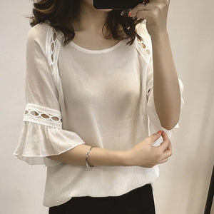 Women Summer Chiffon Blouse Lace Hollow Shirts Flare 3/4 Sleeve Office Clothing Tops JL-noashe