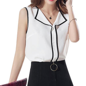 2017 New Fashion Women V Collar Sleeveless Chiffon Tops Elegant Office Lady Vests Casual Waist Coat Plus Size blusas feminino-noashe