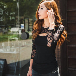 Sexy Women Lace Blouse Long Sleeve O-Neck Lady Shirt Casual Blouse European Style Black Color Autumn Tops Blusas De Renda Para-noashe