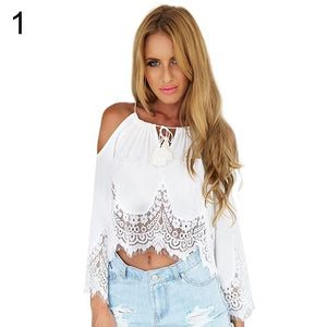Women's Summer Sexy Lace Off Shoulder Long Sleeve White Tops Strap Blouse-noashe