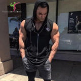 2018 Summer New sleeveless Hoodies gyms Fitness Bodybuilding Sweatshirt male fashion cotton pullover sportswear clothing-noashe