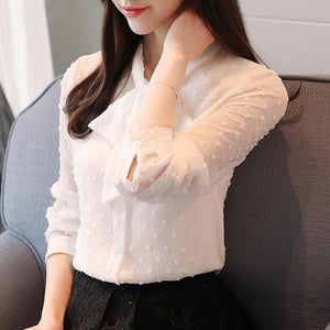 OL Style Spring 2018 New Elegant Solid Chiffon Blouse Stand Collar Long Sleeves Tops Korean Trendy Loose Blouses T81714L-noashe