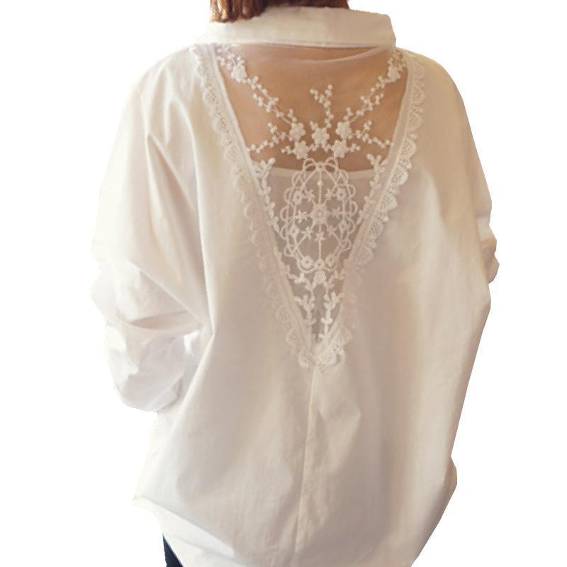 2017 new women tops autumn long sleeve blouses V collar white shirt female lace shirts women clothing solid casual blouse D95 30-noashe