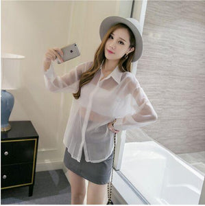 2017 Apparel Sexy Ruffled Women Tops Vintage Casual Sweet Loose White Shirt Transparent Frill Turn-down Collar Blouse-noashe