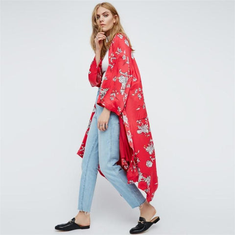 Floral print blouse shirt long kimono Women sashes kimono cardigan Elegent Three Quarter Flare sleeve summer  blusas #FT4530