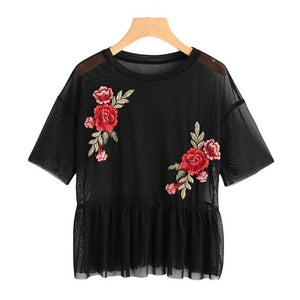 ROMWE Drop Shoulder Flower Patch Tulle Peplum Top 2018 Spring Black Round Neck Short Sleeve Ruffle Embroidery Sheer Women Blouse-noashe