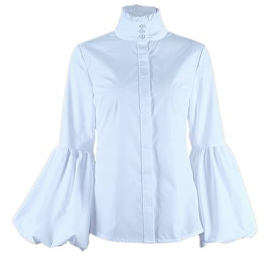 OOTN Long Wide Lantern Sleeve White Blue Blouse Women Button Down Shirts Female 2018 Spring Winter Fashion Tops Turtleneck-noashe