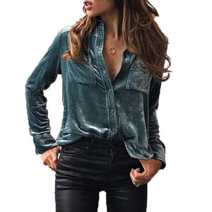Women Shirts Turn Down Collar Blouse 2018 Fashion Long Sleeve Velvet Blusas Button Female Blouses Tops 3 Color LJ8153V-noashe