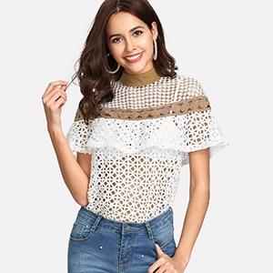 SHEIN White Stand Collar Colorblock Blouses Summer Womens Short Sleeve Sexy Tops Mock Neck Geometric Lace Ruffle Top-noashe