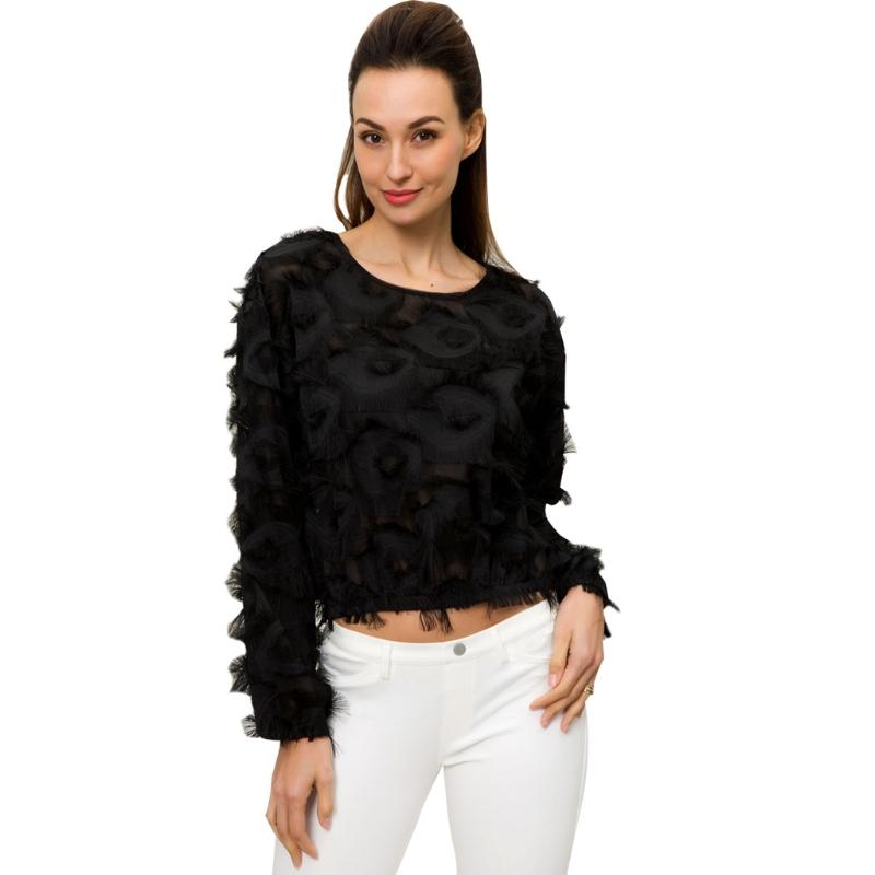 Womens Winter Autumn Tops and Blouses Long Sleeve Black Blouse Fringe Patch Mesh Sexy Black Long Sleeve Round Neck Elegant-noashe