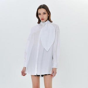 TWOTWINSTYLE Turtleneck Bowknot Women's Shirt Long Sleeve Blouses Casual Top Female White Shirts Big Sizes Casual Clothes Korean-noashe