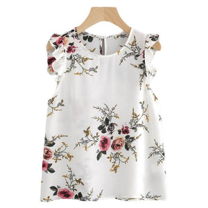 Dotfashion Frilled Armhole Button Closure Back Shell Top 2018 Spring Round Neck Sleeveless Blouse Women Ruffle Floral print Top-noashe