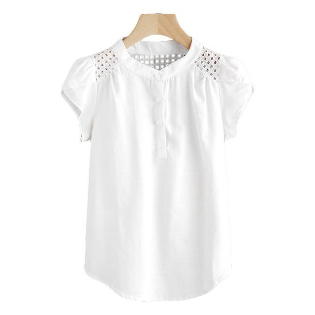 Dotfashion Eyelet Embroidered Panel Blouse 2018 White Button Band Collar Cap Sleeve Top Women Casual Petal Sleeve Blouse-noashe