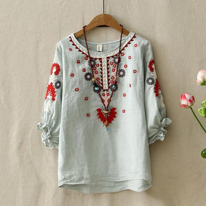 Ethnic Vintage White Floral Embroidered Blouses For Women Loose Half Lantern Sleeve Shirt Women Cotton Linen Top Casual Blusas-noashe