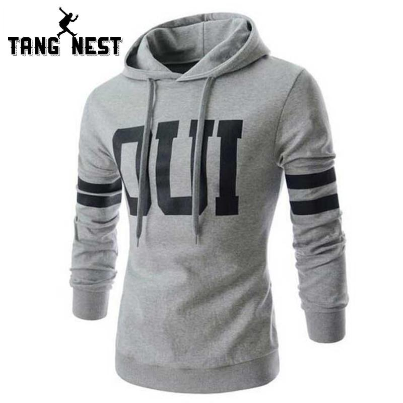 TANGNEST 2018 Stylish Hooded New Arrival Men's Hoodies Autumn Letter Soft Fashion Male Casual Young Sweatshirt MWW856-noashe