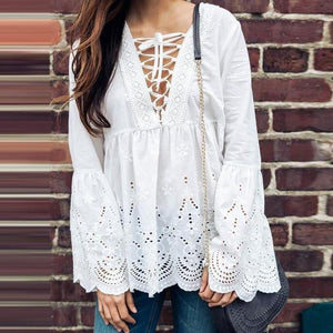 Celmia Sexy V-neck Lace Up Slim Tunic Blouse Shirt Women White Female Spring Autumn Long Flare Sleeve Camisas Tops Plus Size 3XL-noashe