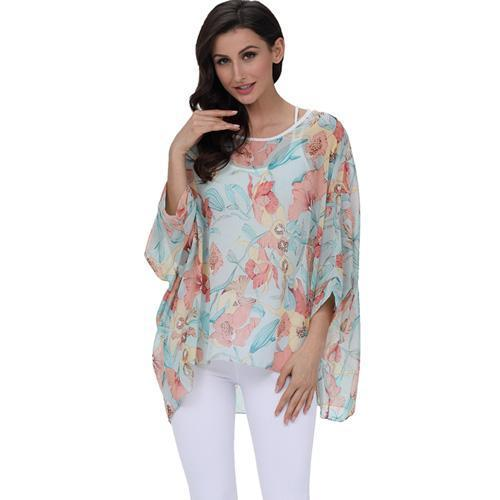 BHflutter 4XL 5XL 6XL Plus Size Women Clothing 2018 New Chiffon Blouse Shirt Batwing Sleeve Letters Print Summer Tops Blouses-noashe