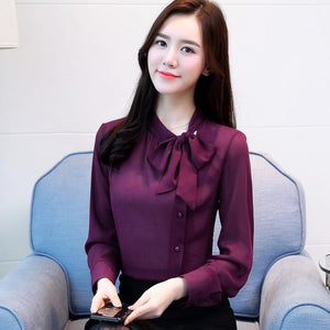 2018 new elegant fashion long-sleeved office lady blouse women shirt solid purple chiffon formal bow women tops blusas D304 30-noashe