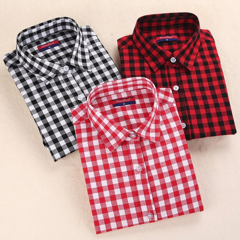 Dioufond Red Plaid Shirts Women Blouses Long Sleeve Turn-down Collar Plaid Shirts Women Casual Cotton Shirt Blusas Femininas