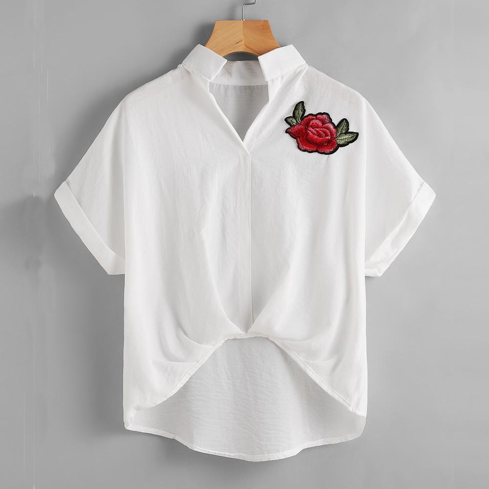 Womens Blouse With Rose Flower Embroidery Short Sleeve Shirt White Color V Neckline Casual Women Shirt Blusas Femininas Manga@Y-noashe
