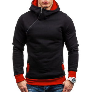Men's Autumn Winter Color Block Slanted Zipper Hoodie Warm Hooded Sweatshirt-noashe