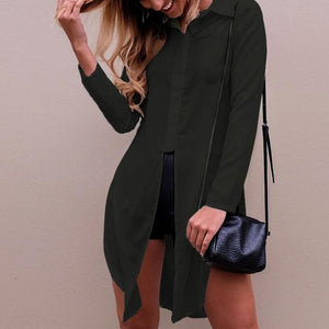 CELMIA Fashion Sexy Women Chiffon Shirts 2018 New Style Long Sleeve Lapel Side Split Solid Blouse Casual Loose Long Tops Blusas-noashe