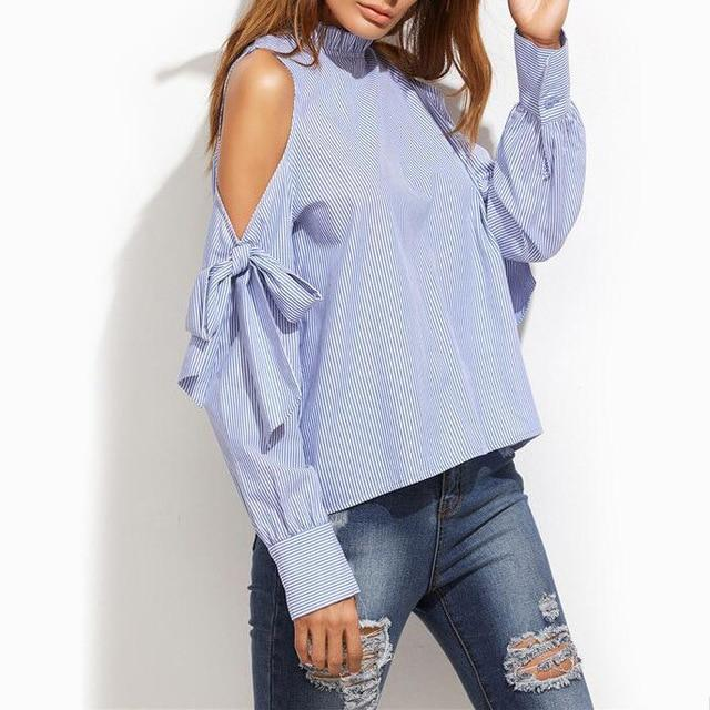 Jocoo Jolee Sexy Off-Shoulder Bow Blouse Fashion Striped Shirt Long Sleeve Blouse Women Clothing High Street Wearing 2018-noashe