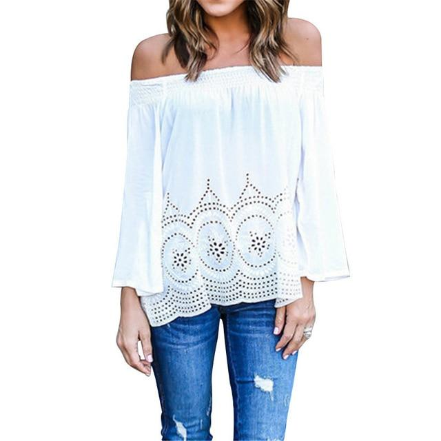 ZANZEA Sexy Off Shoulder Women Blouse 2018 Casual Elastic Slash Neck Strapless Crochet Hollow Out Tops Shirts Plus Size Blusas-noashe